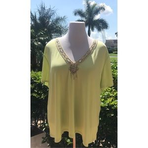 Avenue Lime Green Embellished Top